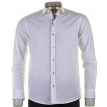 Cotton Blend Slim Fit White Shirt with Trim Detail