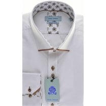 Cotton Mix Slim Fit Shirt with Tan Trim Detail