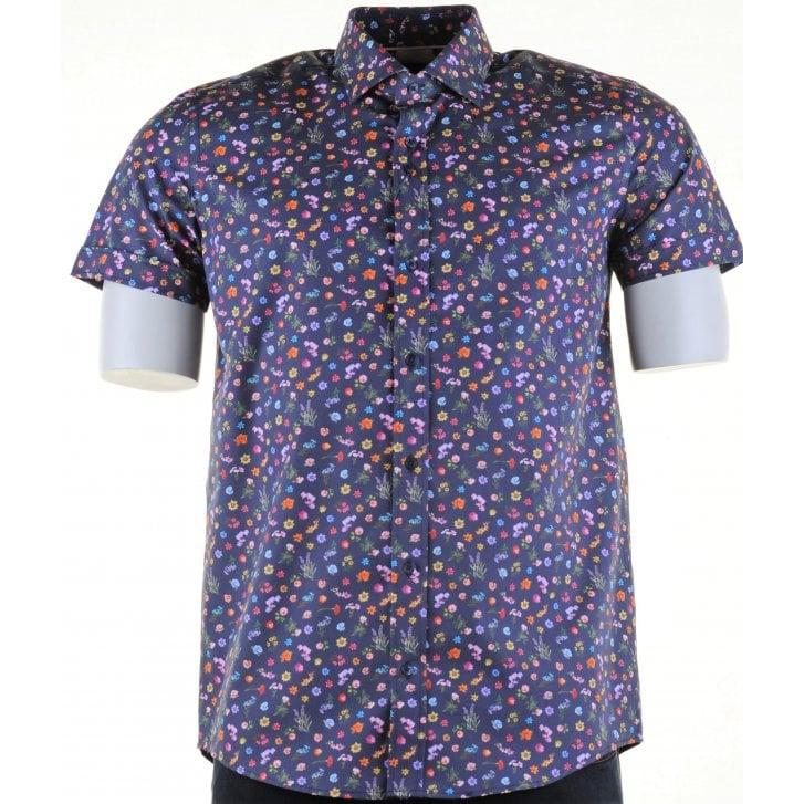 GUIDE Cotton Short Sleeved Slim Fit Navy Floral Shirt