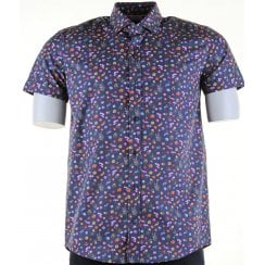Cotton Short Sleeved Slim Fit Navy Floral Shirt