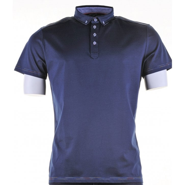 GUIDE Cotton Short Sleeved Slim Fit Navy Shirt