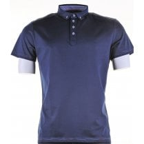 Cotton Short Sleeved Slim Fit Navy Shirt