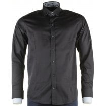 Cotton Slim Fit Black Shirt with Trim Detail