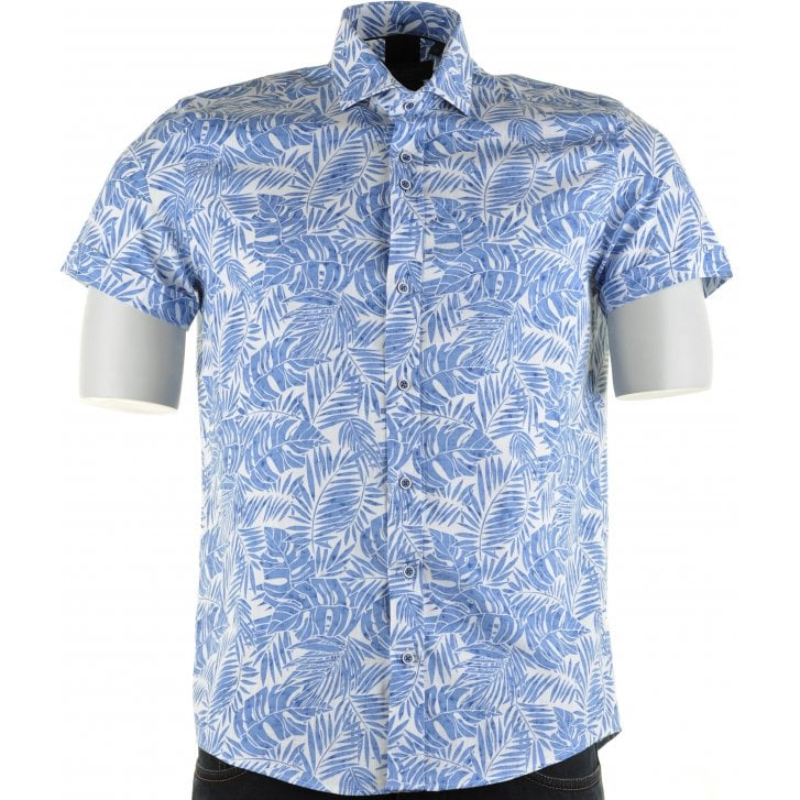 GUIDE Cotton Slim Fit Blue Shirt with Leaf Pattern