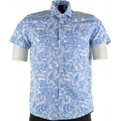 Cotton Slim Fit Blue Shirt with Leaf Pattern