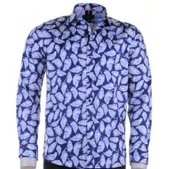 Cotton Slim Fit Navy Blue Shirt with Leaf Pattern