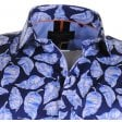 GUIDE Cotton Slim Fit Navy Blue Shirt with Leaf Pattern