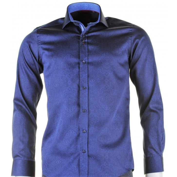 GUIDE Cotton Slim Fit Navy Paisley Print Shirt