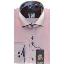 Cotton Slim Fit Pink Shirt with Trim and Stitch Detail