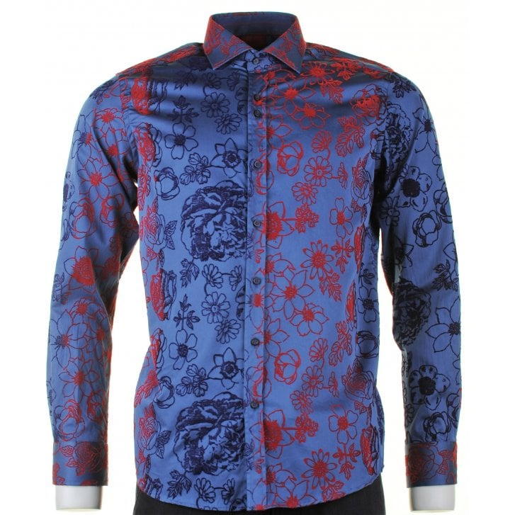 GUIDE Cotton Slim Fit Shirt with Embossed Floral Pattern