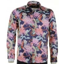 Cotton Slim Fit Shirt with Large Floral Pattern