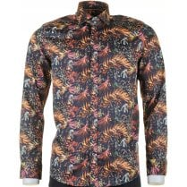 Cotton Slim Fit Shirt with Large Leaf Pattern