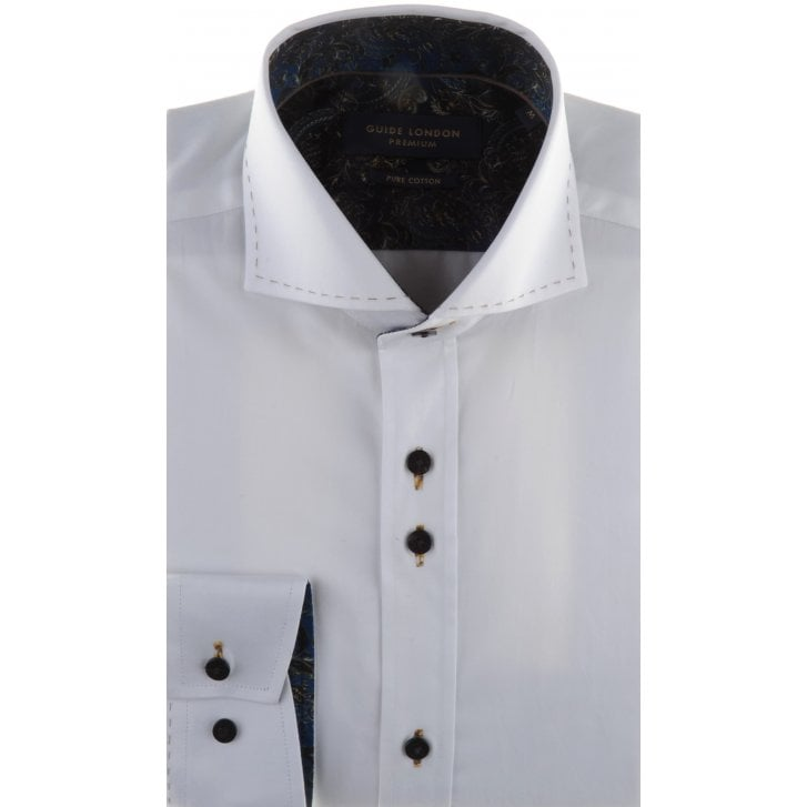 GUIDE Cotton Slim Fit Shirt with Trim and Stitch Detail