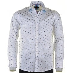 Cotton Slim Fit White Shirt with Bees