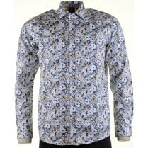 Cotton Slim Fit White Shirt with Floral Navy Pattern