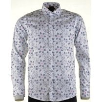 Cotton Slim Fit White Shirt with Navy Pattern