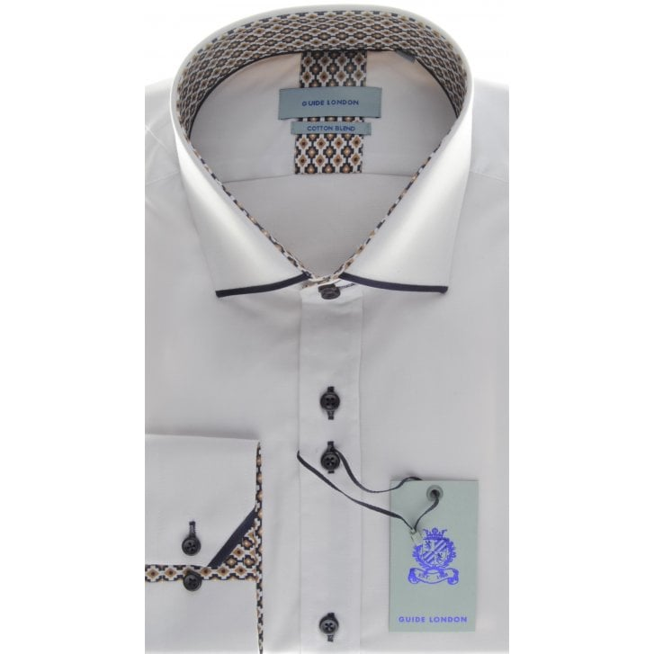 GUIDE Cotton Slim Fit White Shirt with Trim Detail