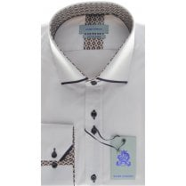 Cotton Slim Fit White Shirt with Trim Detail