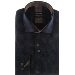 Cotton Stretch Slim Fit Navy Patterned Shirt