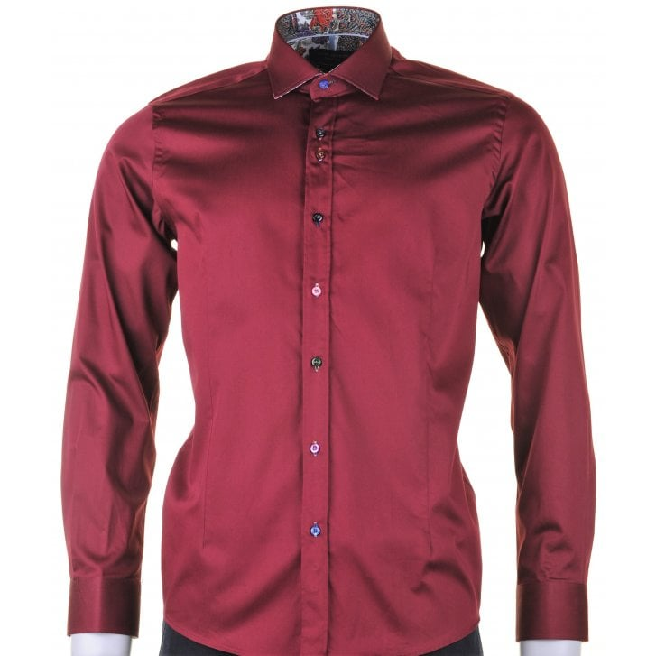 GUIDE Cotton Stretch Slim Fit Shirt in Burgundy