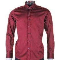 Cotton Stretch Slim Fit Shirt in Burgundy