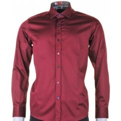 Cotton Stretch Slim Fit Shirt in Burgundy
