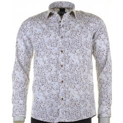 Cotton Stretch Slim Fit White Shirt with Flowers