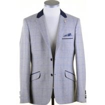 Grey with Blue Overcheck Tailored Fit Jacket
