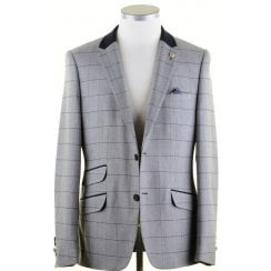 Grey with Navy Overcheck Tailored Fit Jacket