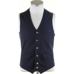Navy Light Weight Single Breasted Waistcoat