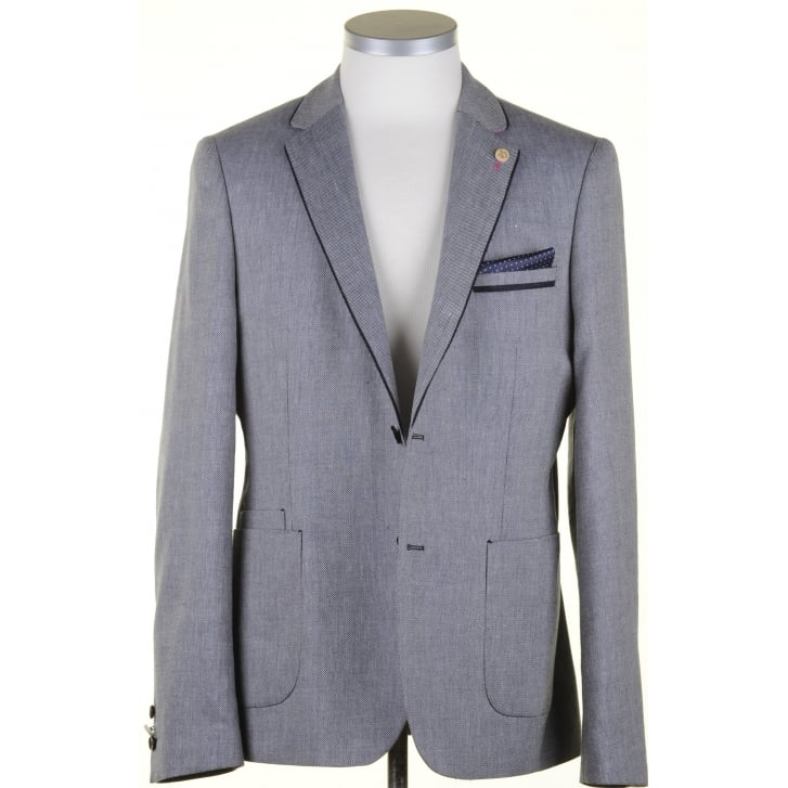GUIDE Navy Linen Mix Summer Tailored Fit Jacket