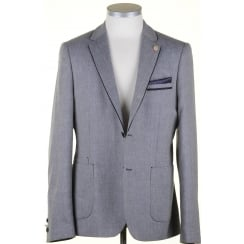 Navy Linen Mix Summer Tailored Fit Jacket