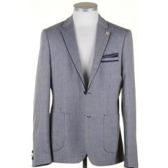 Navy Linen Mix Summer Tailored Fit Jacket