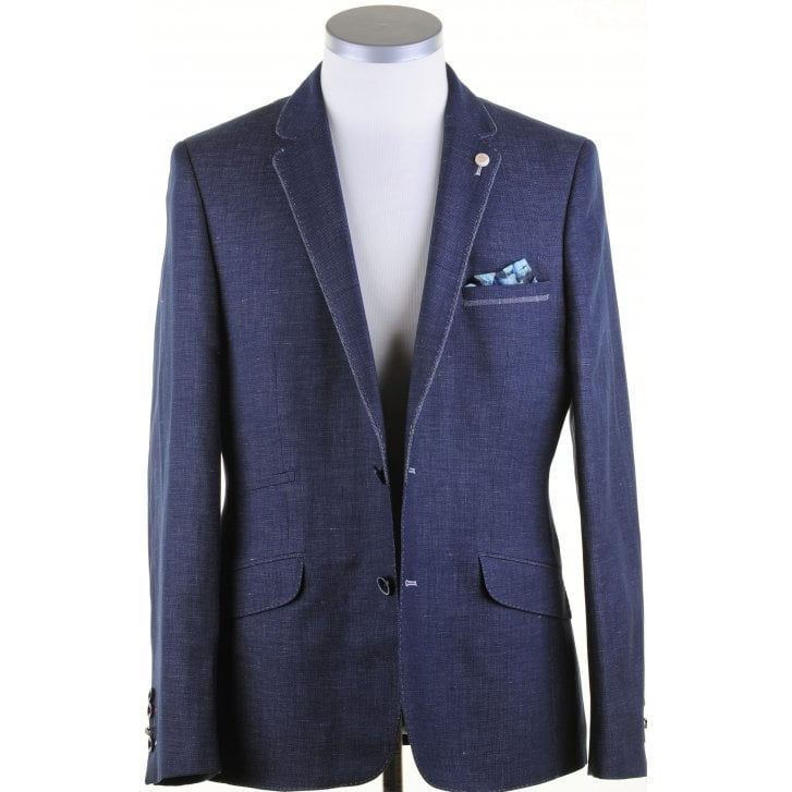 GUIDE Navy Linen Mix Tailored Fit Jacket