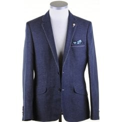 Navy Linen Mix Tailored Fit Jacket