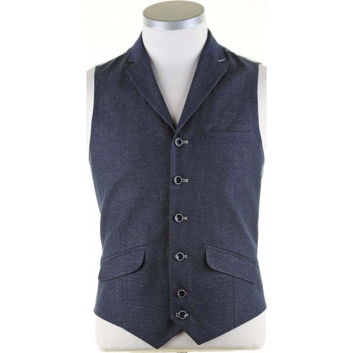 GUIDE Navy Linen Mix Tailored Waistcoat with Lapel