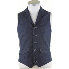 Navy Linen Mix Tailored Waistcoat with Lapel