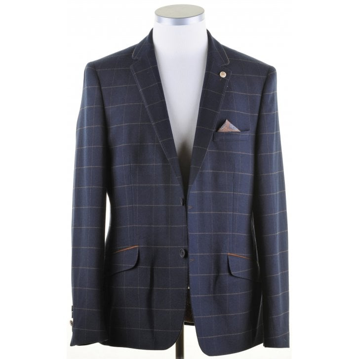 GUIDE Navy with Brown Overcheck Tailored Fit Jacket