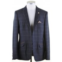 Navy with Brown Overcheck Tailored Fit Jacket