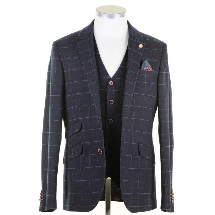 GUIDE Navy with Pink Overcheck Tailored Fit Jacket
