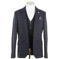 Navy with Pink Overcheck Tailored Fit Jacket