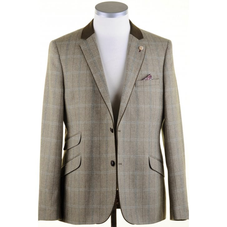 GUIDE Olive Herring Bone Tailored Fit Jacket