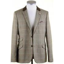 Olive Herring Bone Tailored Fit Jacket