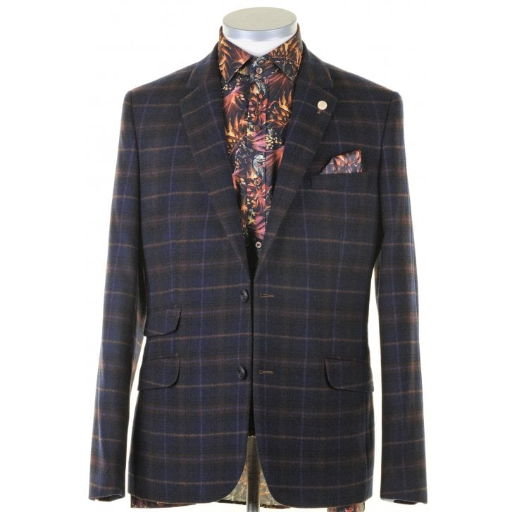 GUIDE Slim Navy Check Single Breasted Jacket