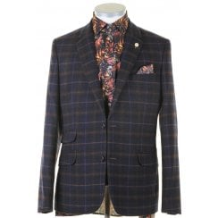 Slim Navy Check Single Breasted Jacket