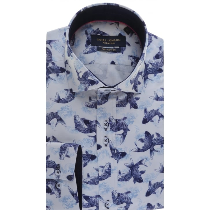 GUIDE Tailored Fit Fish Pattern Cotton Shirt with Cutaway collar