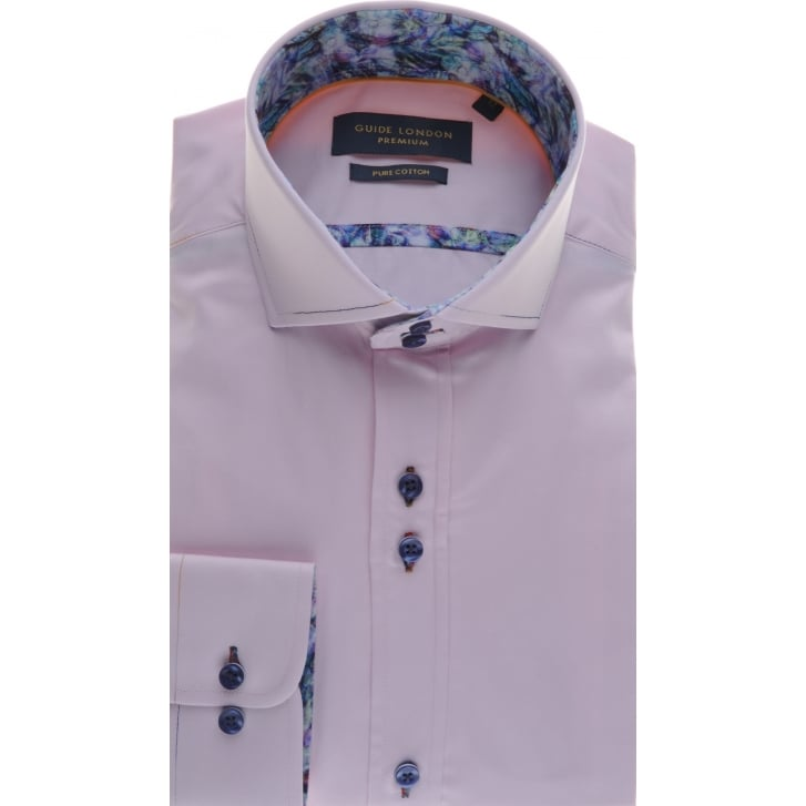 GUIDE Tailored Fit Pink Cotton Shirt with Cutaway Collar
