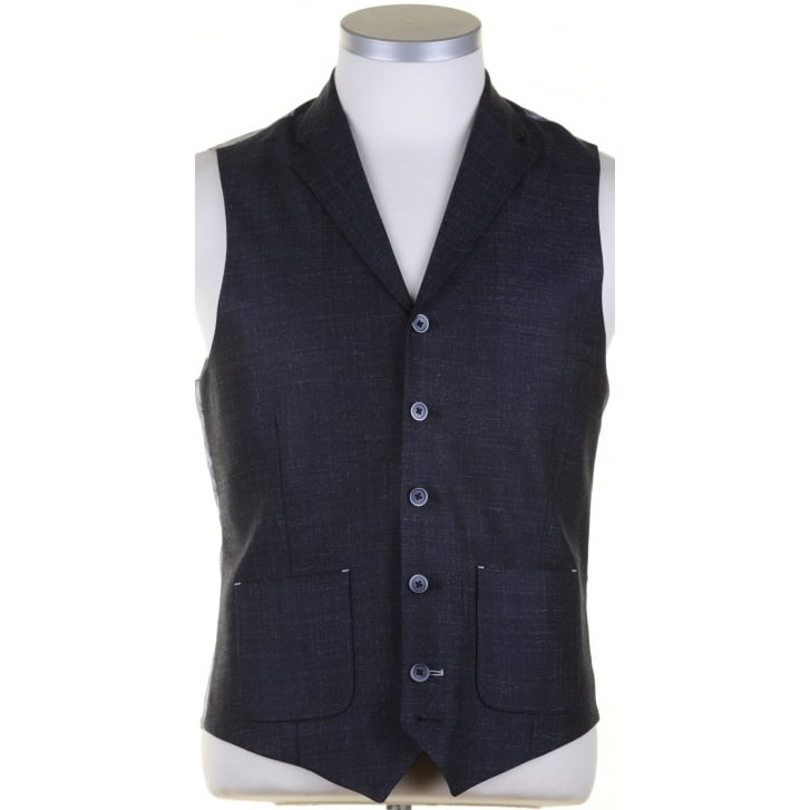GUIDE Tailored Navy Single Breasted Waistcoat with Lapel