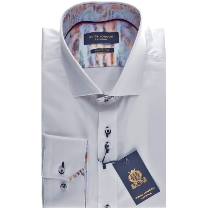 GUIDE Tailored White Cotton Shirt with Cuttaway Collar