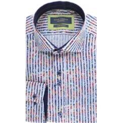Two button Collar Striped Cotton Shirt